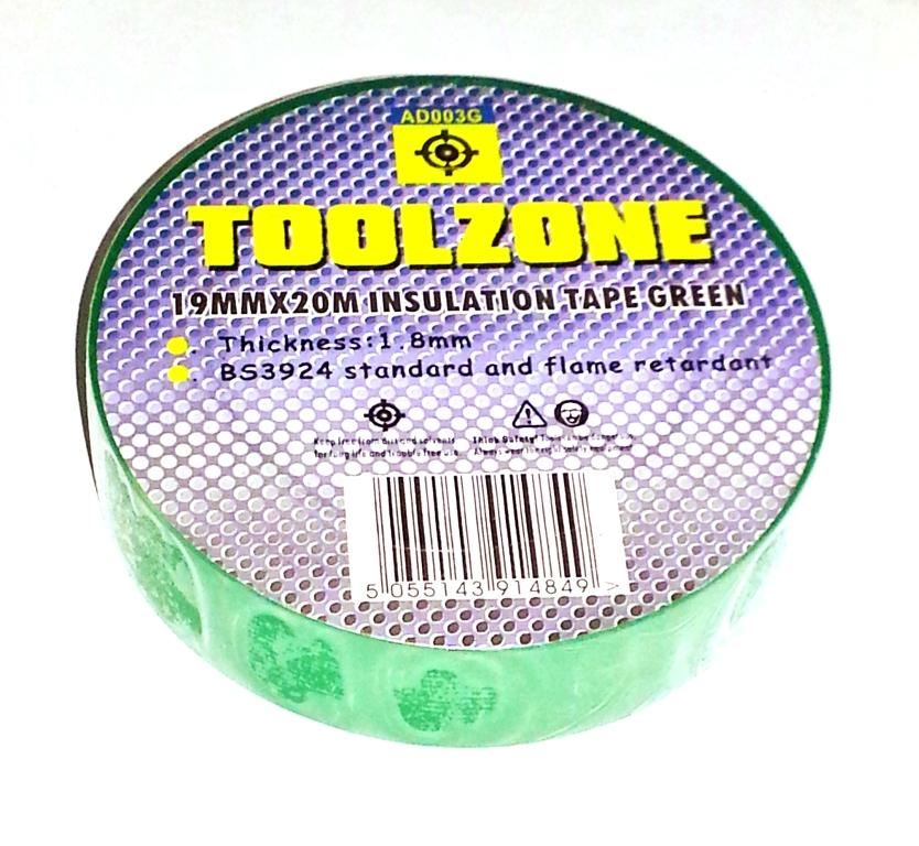 Toolzone Green Pvc Insulation Tape 19Mm X 20M