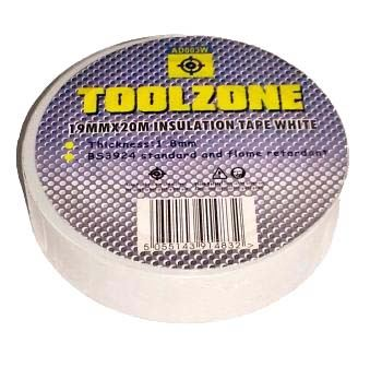 Toolzone White Pvc Insulation Tape 19Mm X 20M