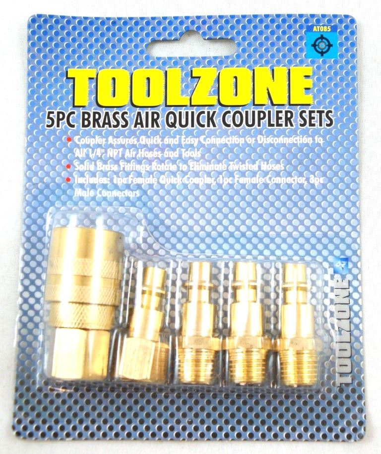 Toolzone 5Pc Brass Quick Air Coupler Set