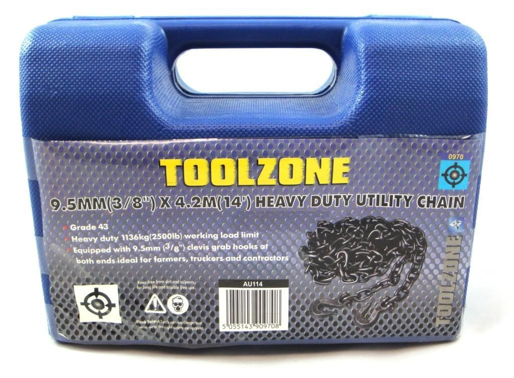 "Toolzone Towing Chain 14Ft X 3/8"" C/W Hook"