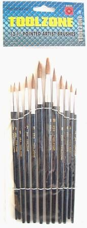 Toolzone 12Pc Pointed Artist Brushes