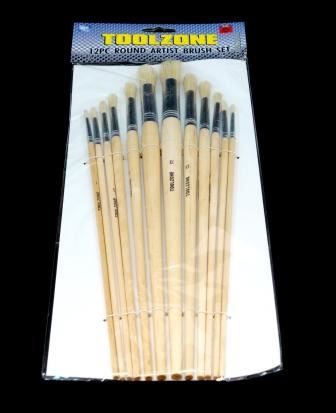 Toolzone 12Pc Jumbo Round Artist Brushes