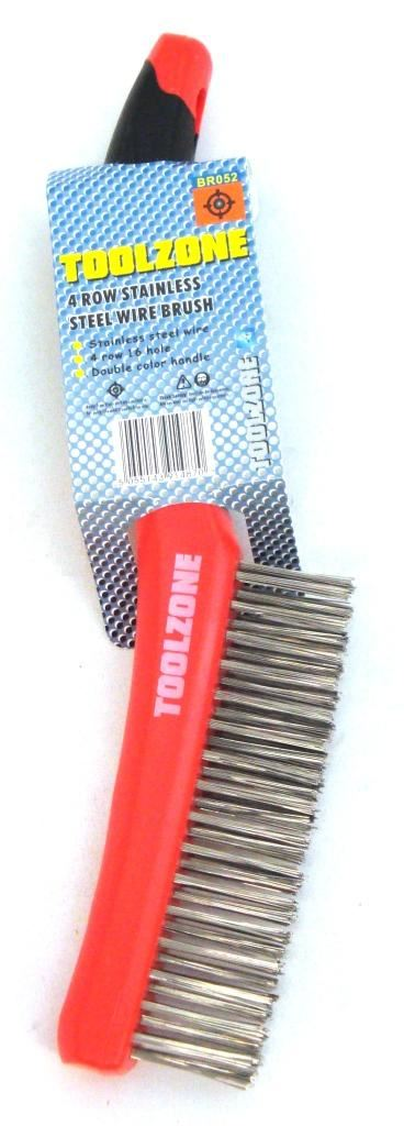 Toolzone 4Rw S/Steel Wire Brush Plastic Handle