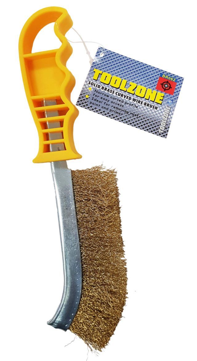 Toolzone Solid Brass Wire Curved Brush Yellow