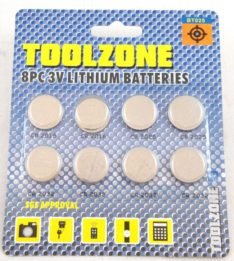 Toolzone 8Pc 3V Lithium Battery Set