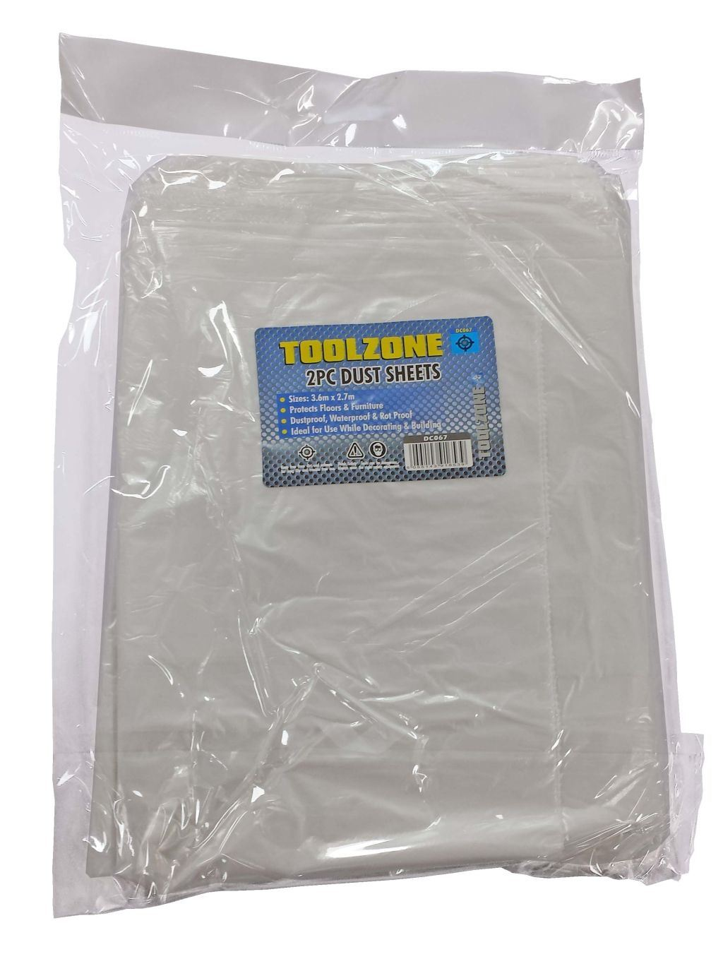 Toolzone 2Pc Poly Dust Sheet 3.6 X 2.7M