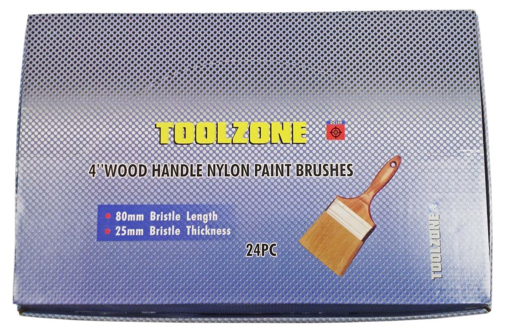 "Toolzone 24Pc 4"" Nylon Paint Brush Wood Handle"