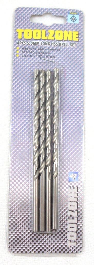 Toolzone 4Pc 5Mm Long Series Hss Drills