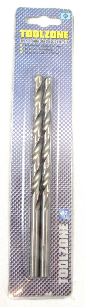 Toolzone 2Pc 8Mm Long Series Hss Drills