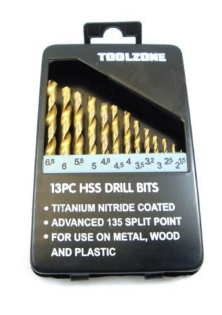 Toolzone 13Pc Hss Drills In Tin Titanium Coate