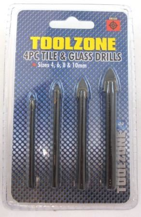 Toolzone 4Pc Glass & Tile Drill Set 4,6,8,10Mm