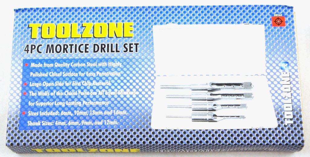Toolzone 4Pc Mortice Drill Set 6,10,13& 16