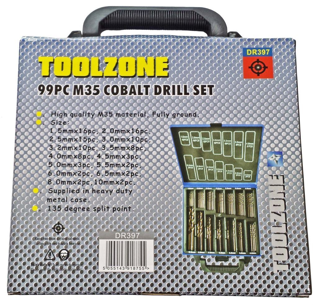 Toolzone 99Pc Cobalt Drill Bit Set