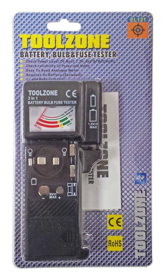 Toolzone Battery, Bulb & Fuse Tester