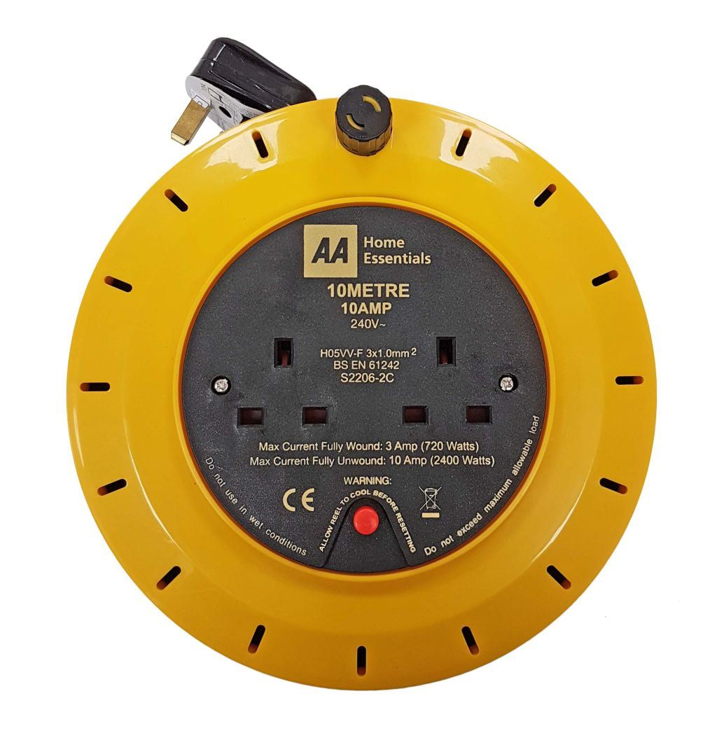 Toolzone Aa 10M X 10 Amp Twin Socket Cable Reel