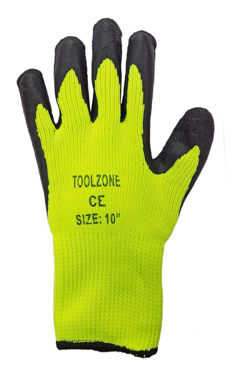 Toolzone Lg Fleece Lined Latex Dipped Gloves