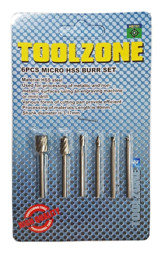Toolzone 6Pc Micro Hss Burr Set