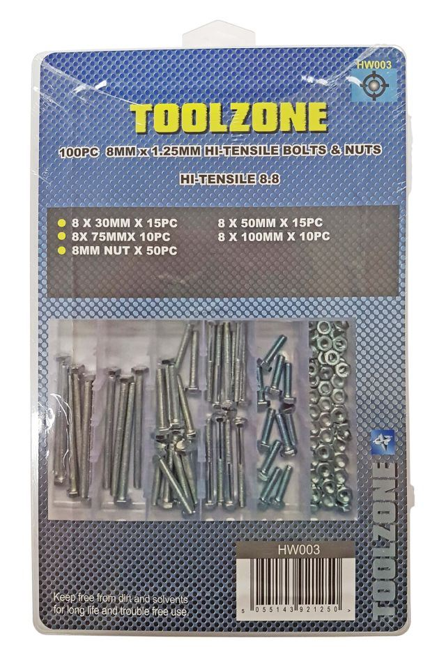 Toolzone 100Pc 8Mm Bolts & Nuts Assortment