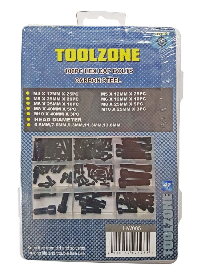 Toolzone 106Pc Hex Cap Bolts