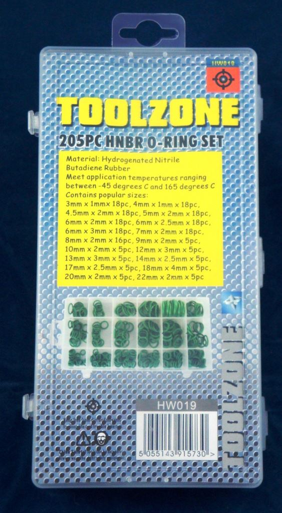 Toolzone 205Pc Hnbr O Ring Set
