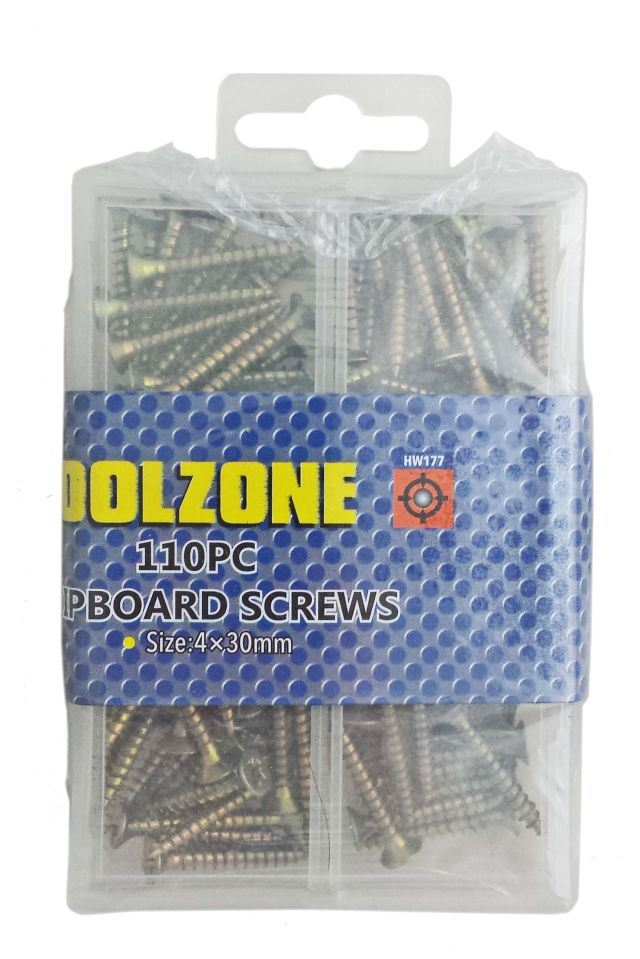 Toolzone 4X30mm 110Pc Chipboard Screws