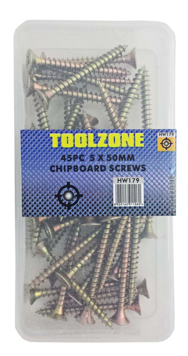 Toolzone 5X50mm 45Pc Chipboard Screws