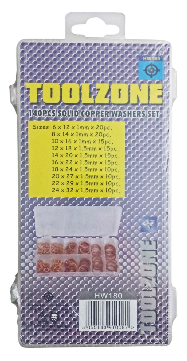 Toolzone 140Pc Solid Copper Washer Assort. Box