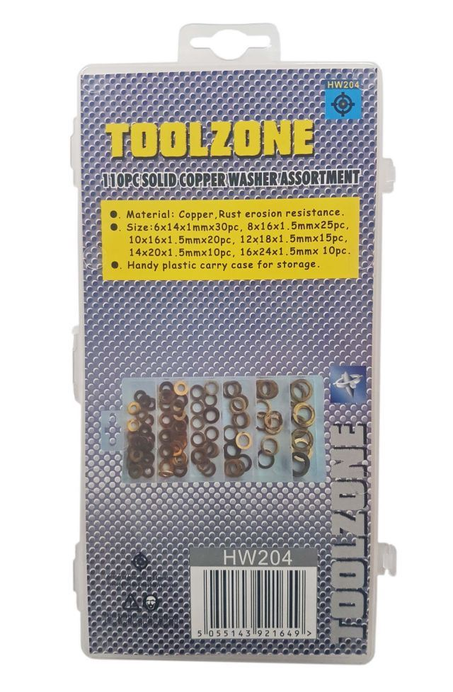 Toolzone 110Pc Copper Washers In Slimline Case