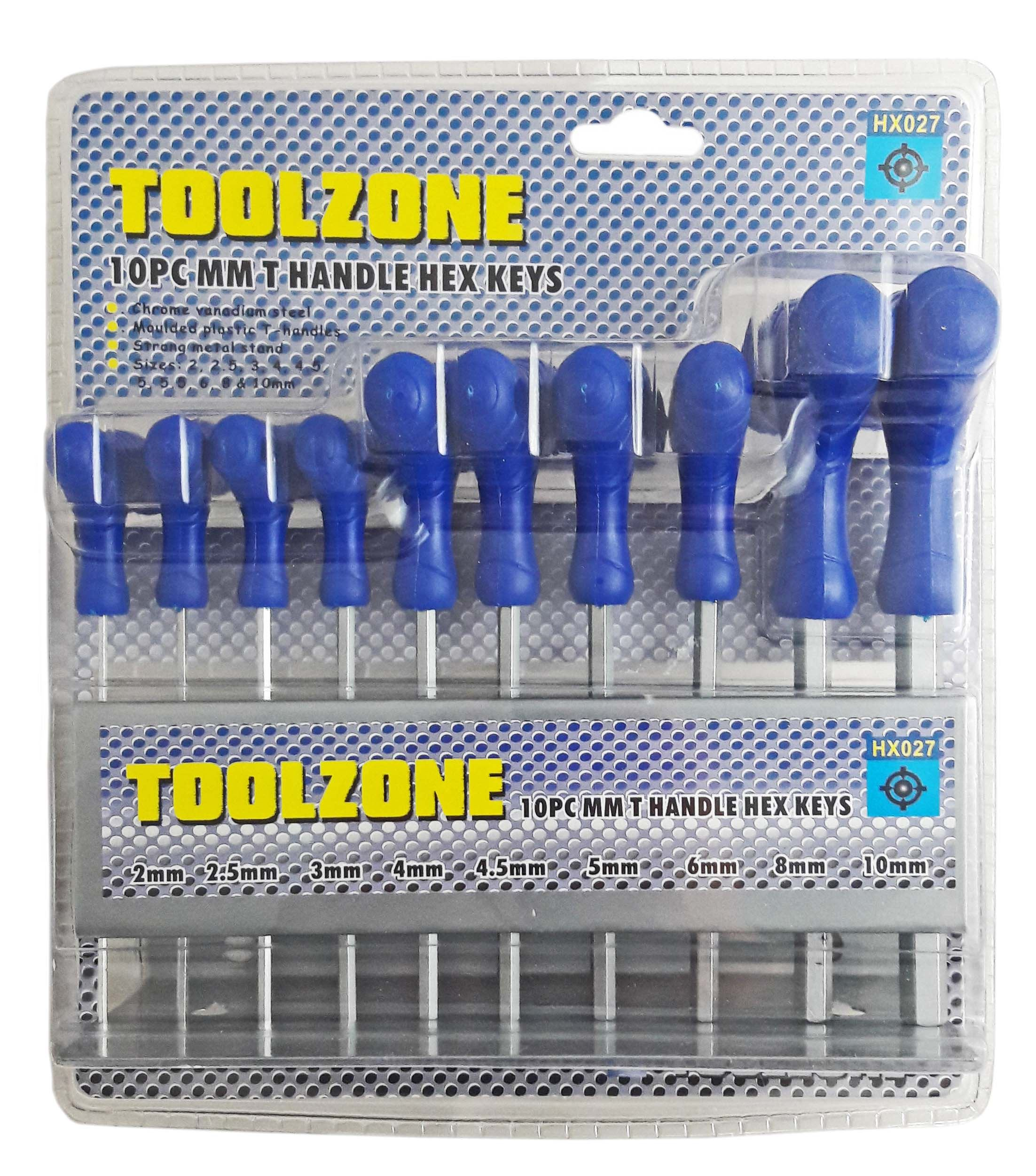Toolzone 10Pc T Handle Hex Keys Metric