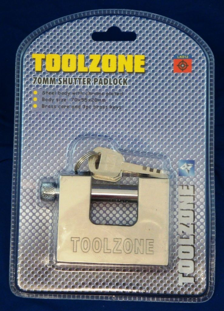 Toolzone 70Mm Shutter Padlock Sec Key