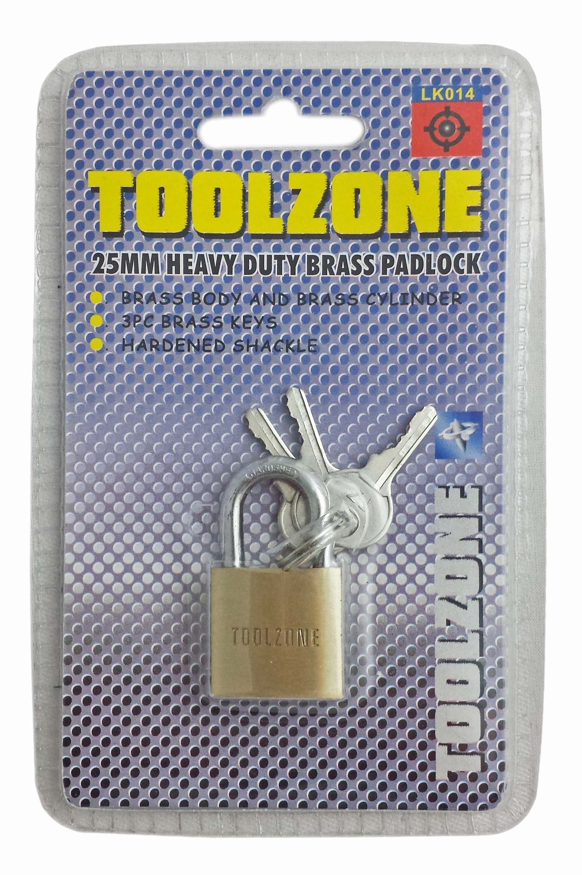 Toolzone 25Mm Hd Brass Padlock