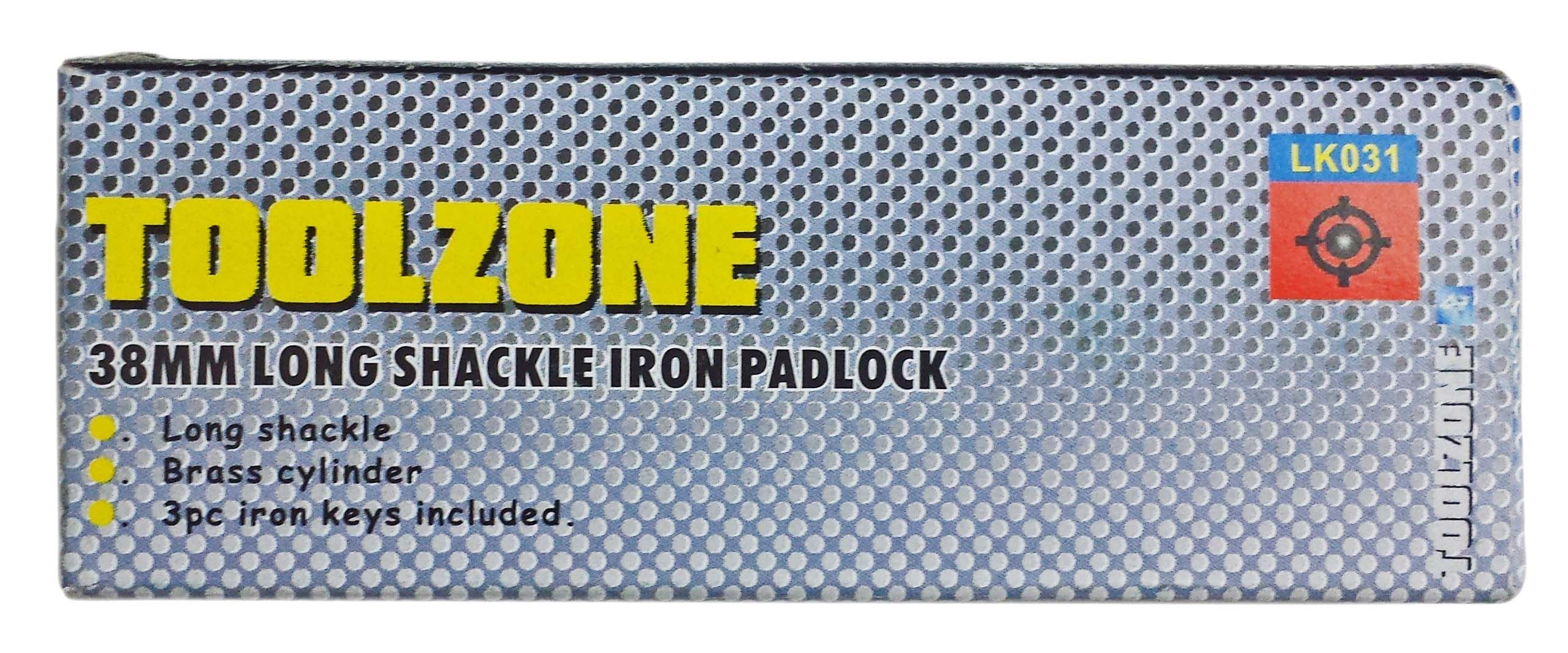 Toolzone 38Mm Long Shank Iron Padlock