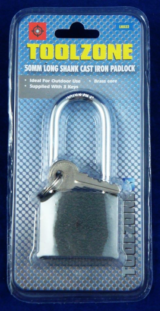 Toolzone 50Mm Iron Padlock Long Shank