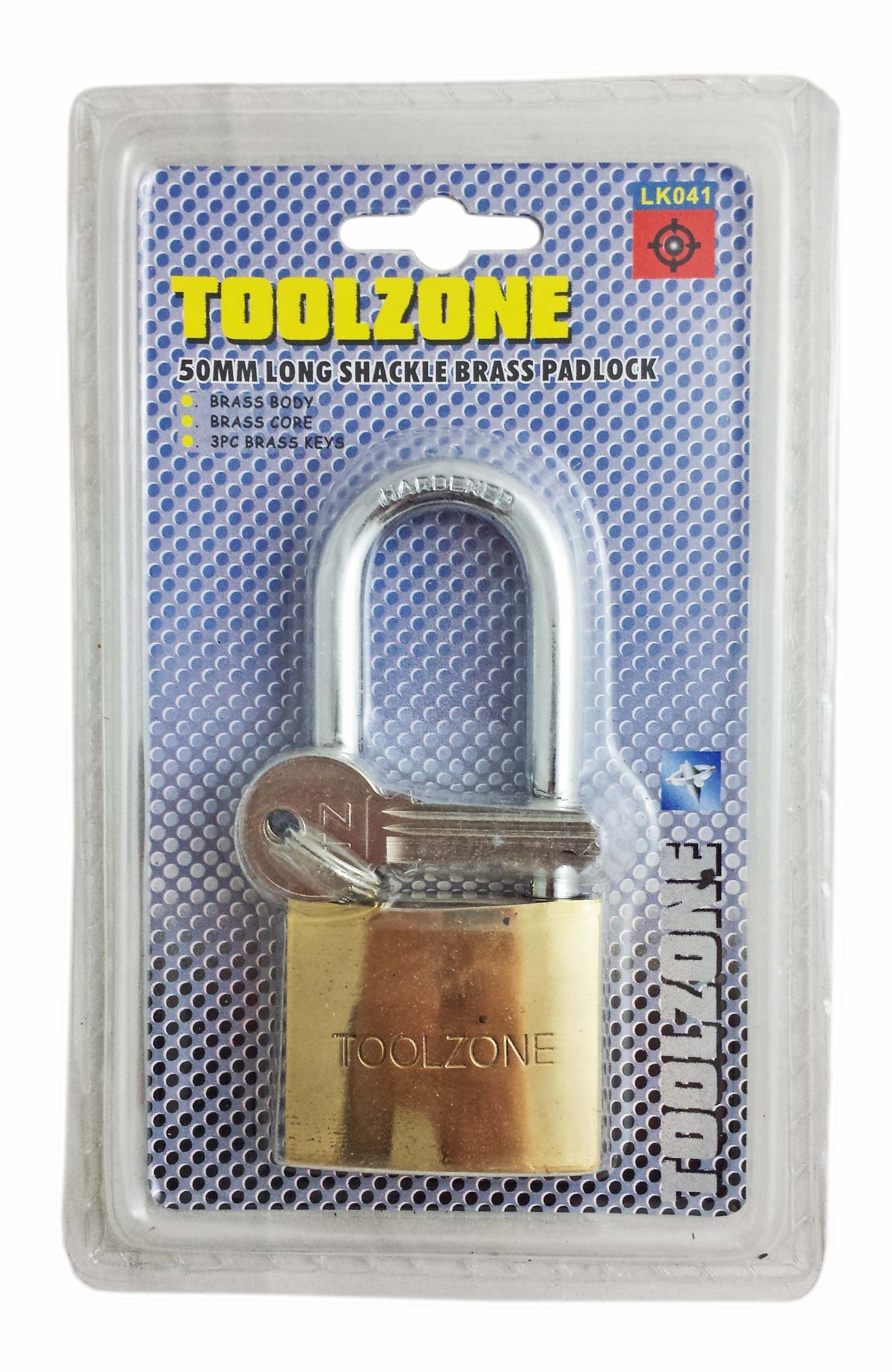Toolzone 50Mm Brass Long Shank Padlock
