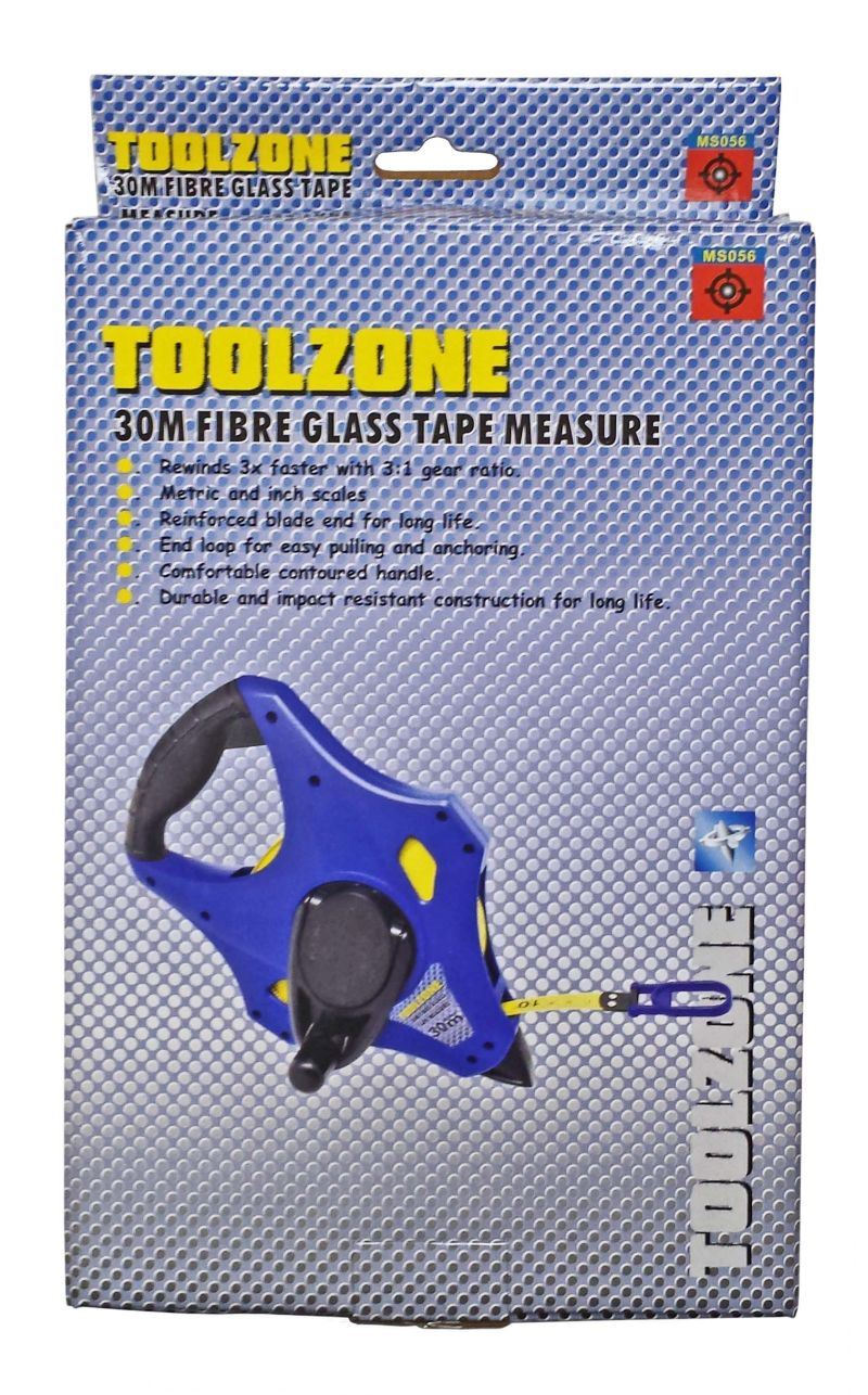 Toolzone 30M 3 In 1 Geared F/Glass Tape Measur