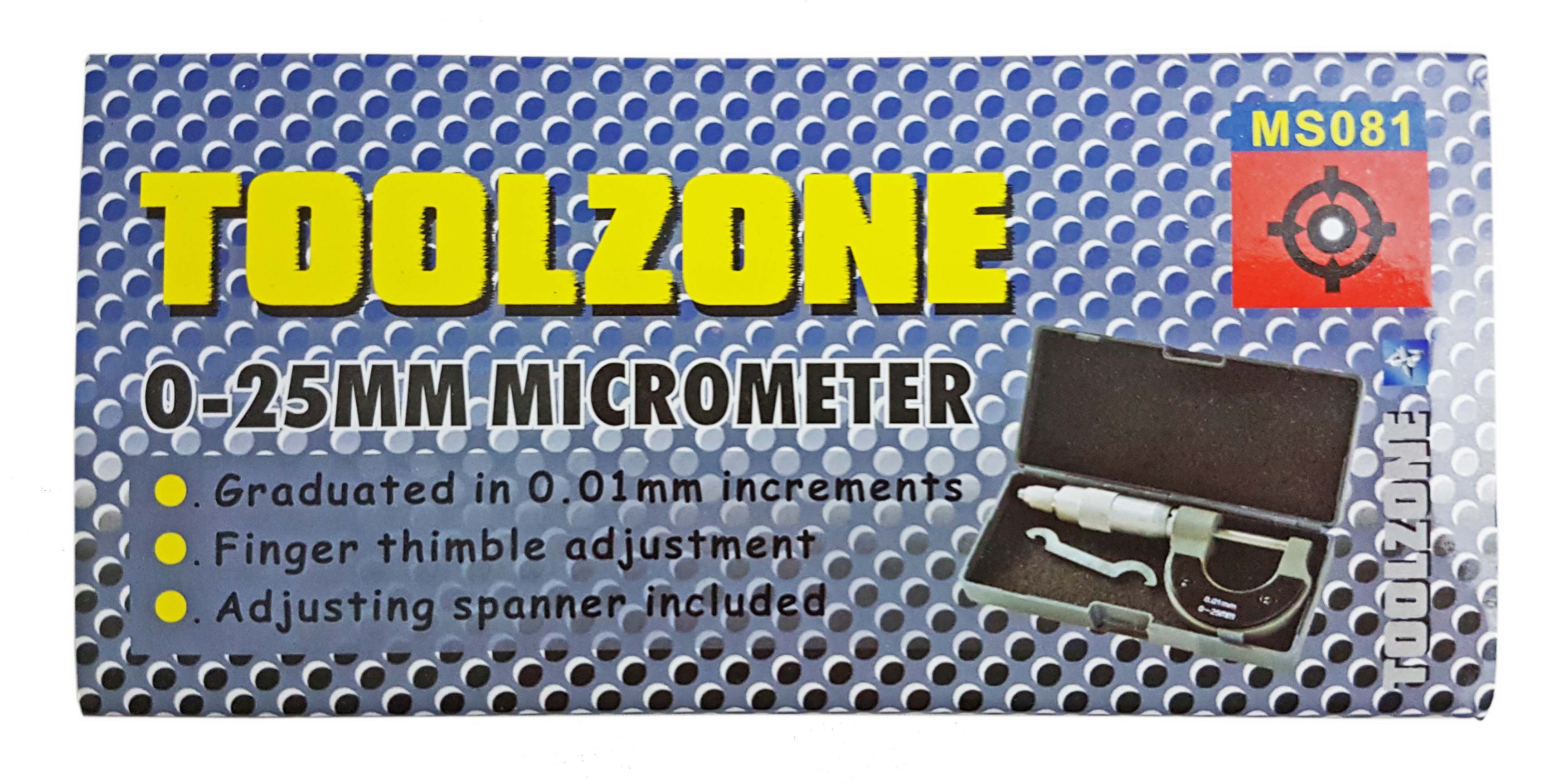 Toolzone 0-25Mm Micrometer In Case