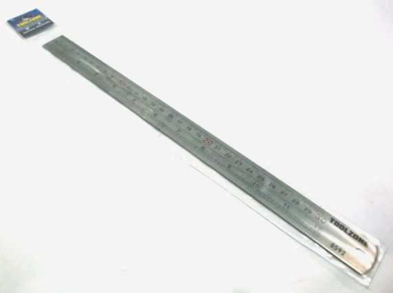 "Toolzone 12"" Stainless Steel Ruler"