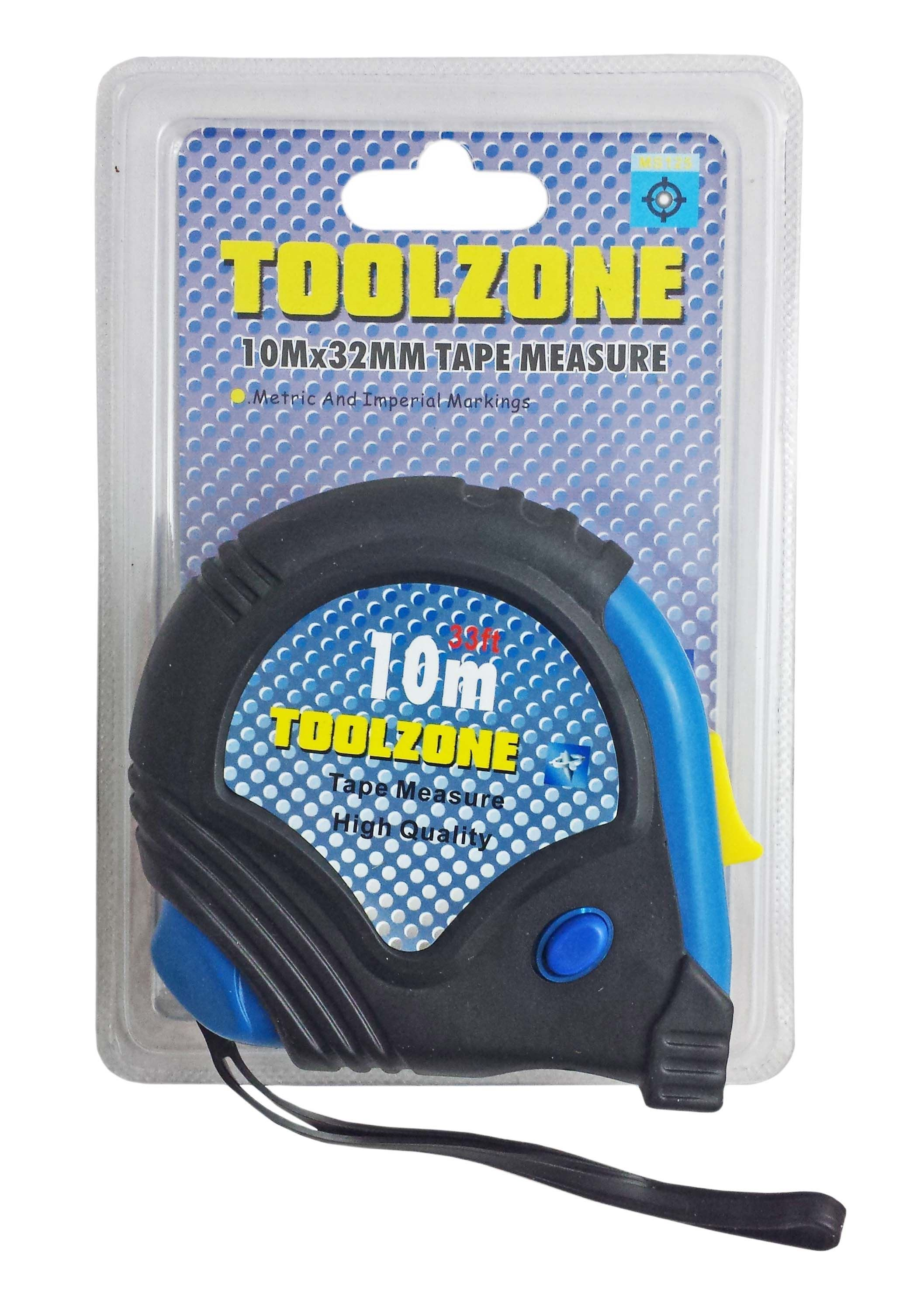 Toolzone 10M 32Mm Rubber Coated Tape Measure
