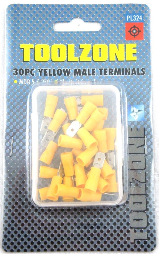 Toolzone 30Pc Yellow Male Terminals
