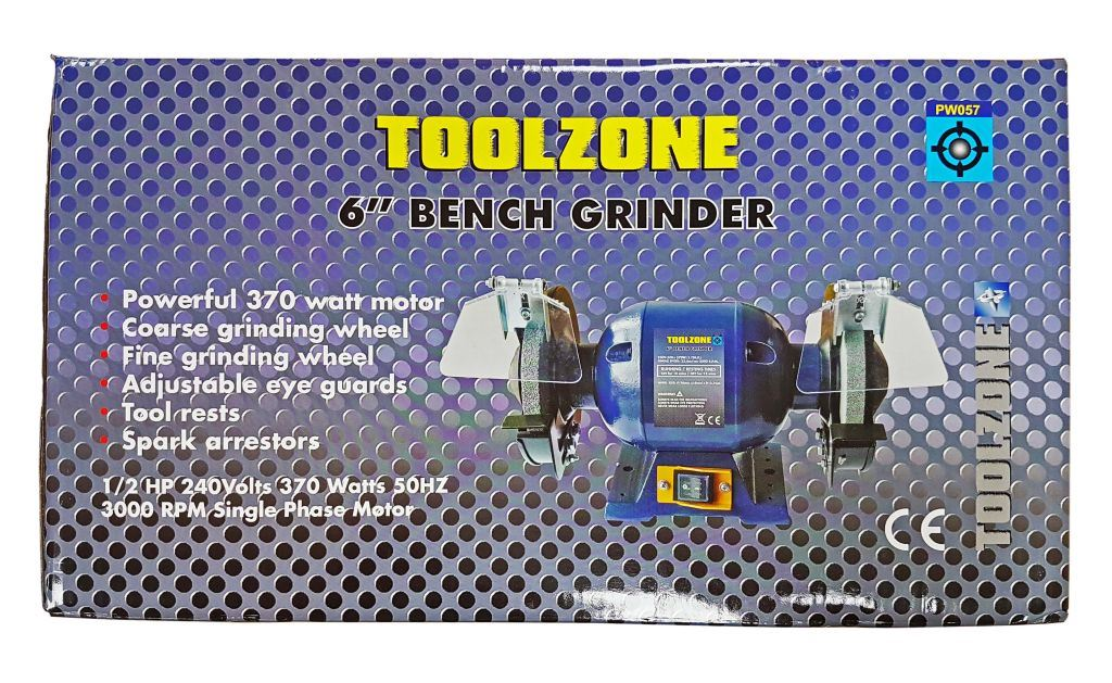 "Toolzone 6"" 375W(1/2Hp) Bench Grinder"
