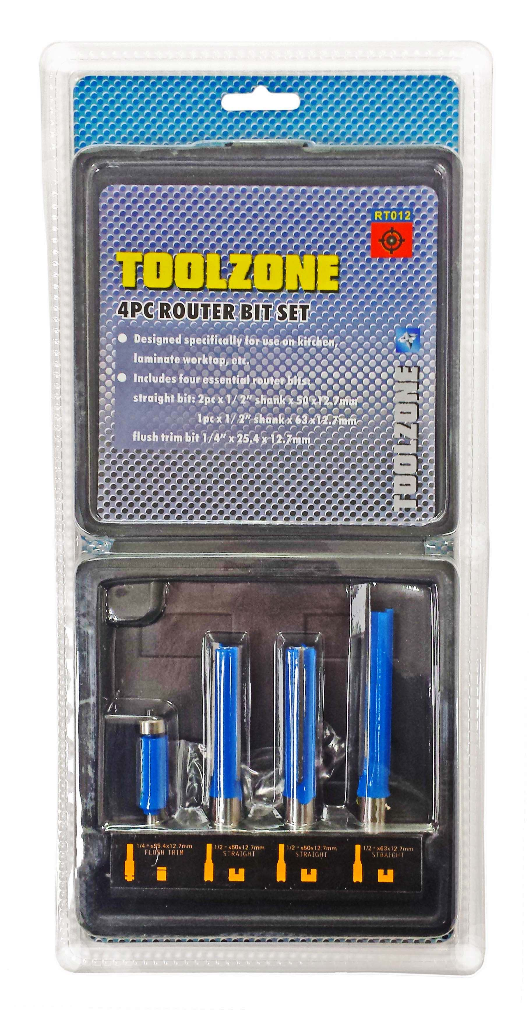 Toolzone 4Pc Kitchen Router Bit Set