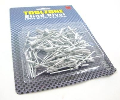 Toolzone 100Pc 3.2Mm X10mm Rivets