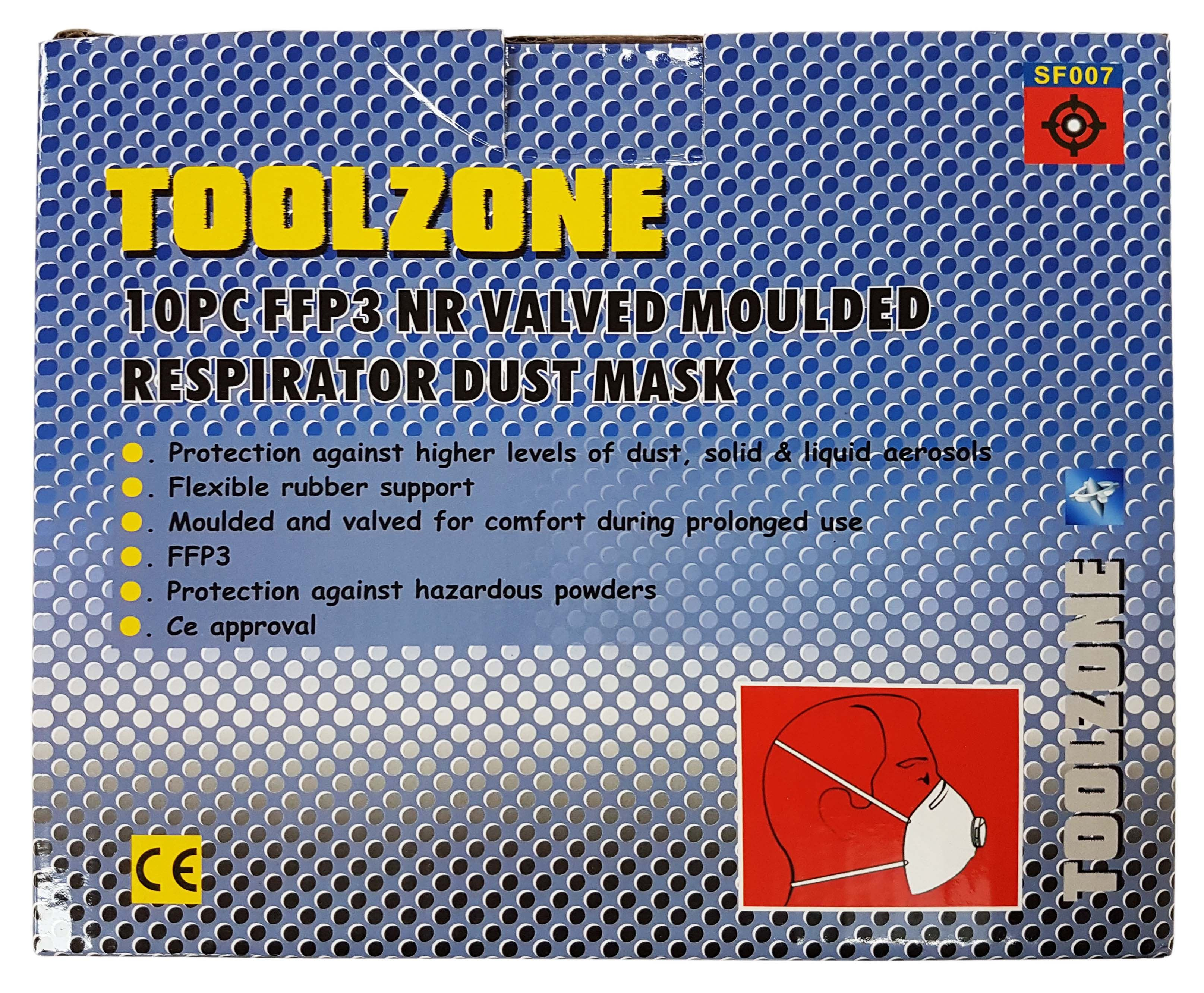Toolzone 10Pc Ffp3 Moulded Valved Dust Mask