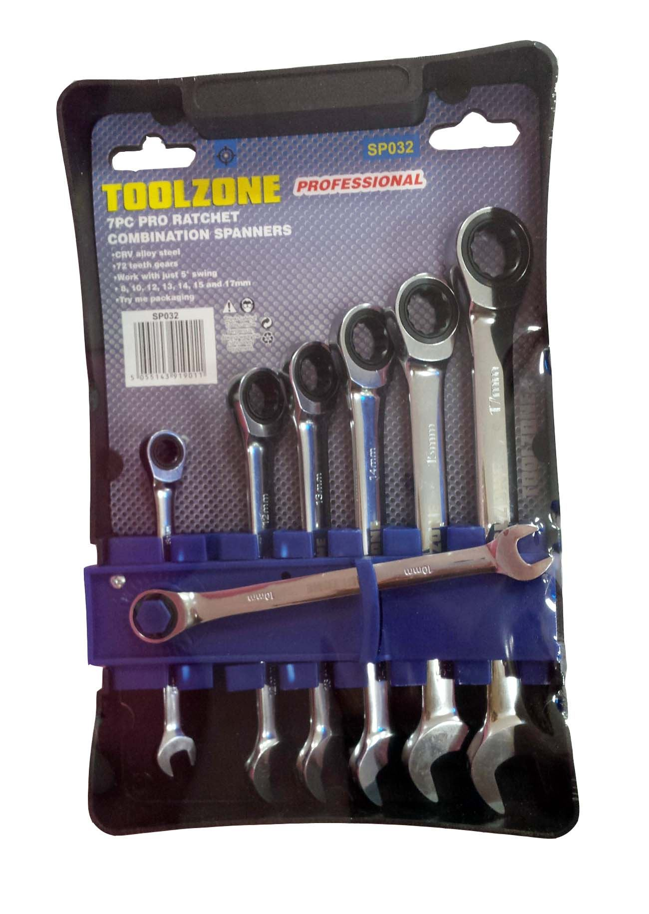 Toolzone 7Pc Prof Ratchet Combi Spanners
