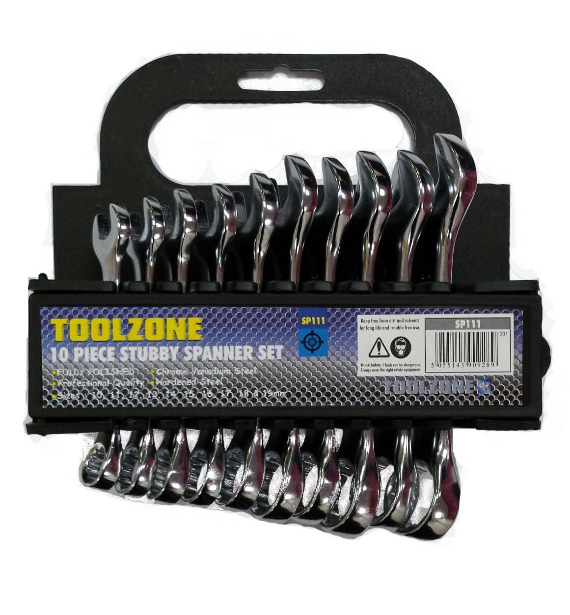 Toolzone 10Pc Mm Stubby Spanners F/P In Rack