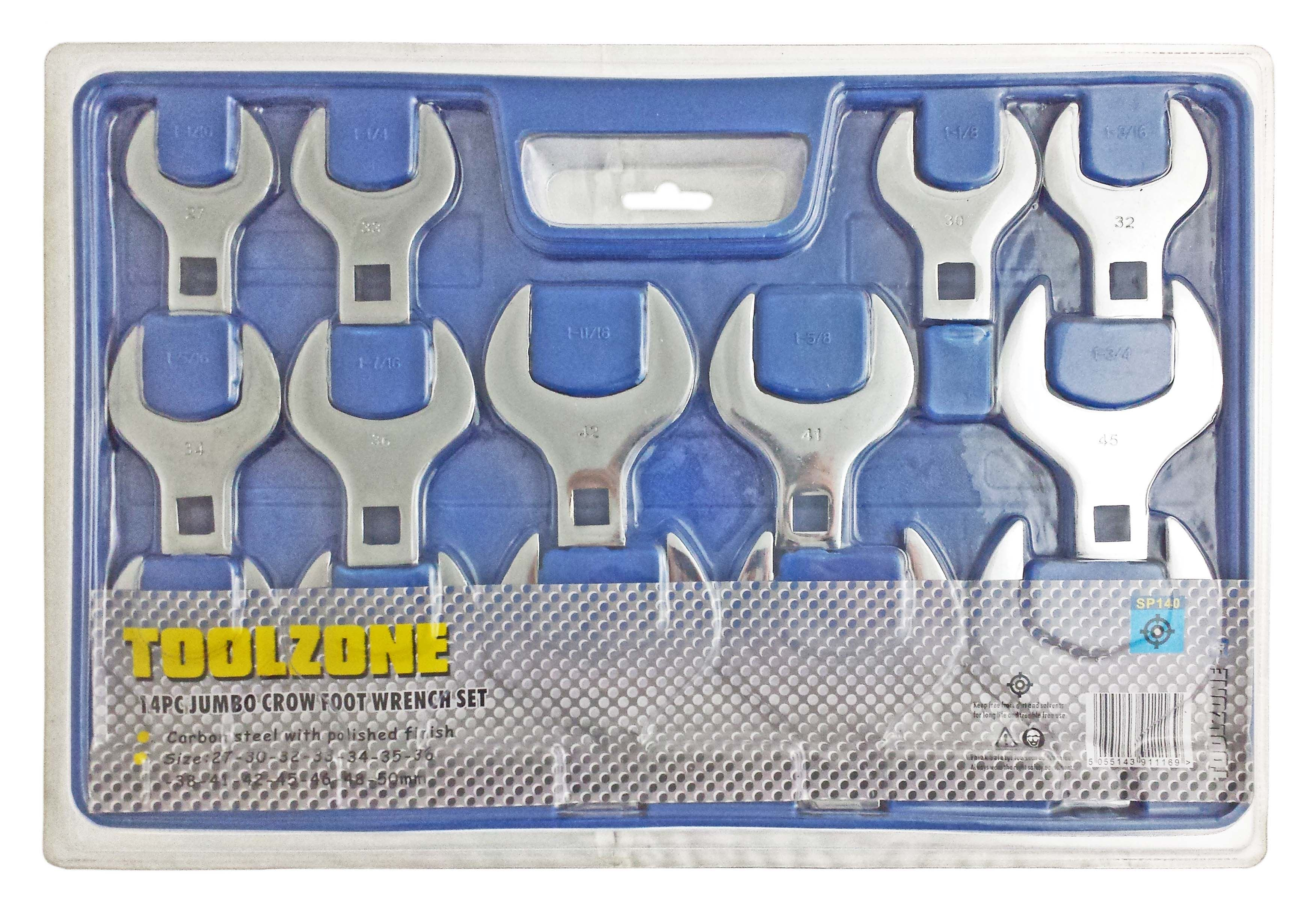 Toolzone 14Pc Jumbo Mm Crows Foot Wrenches