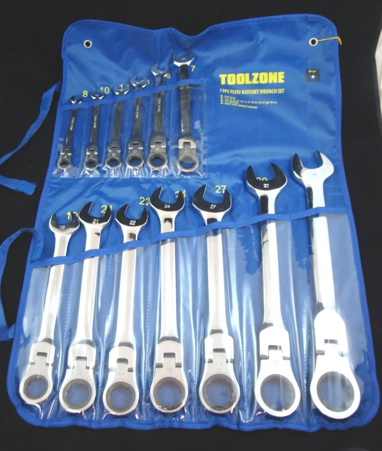 Toolzone 13Pc Flexi Ratchet Wrench Set 8-32Mm