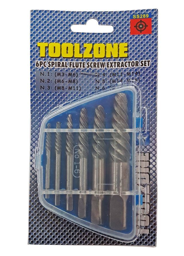 Toolzone 6Pc Spiral Flute Screw Extractor Set