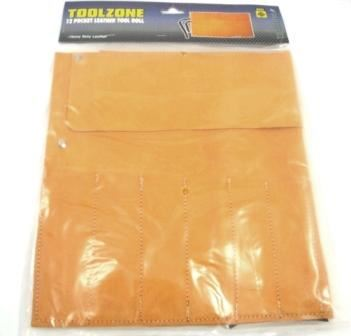 Toolzone 12 Pocket Leather Tool Roll