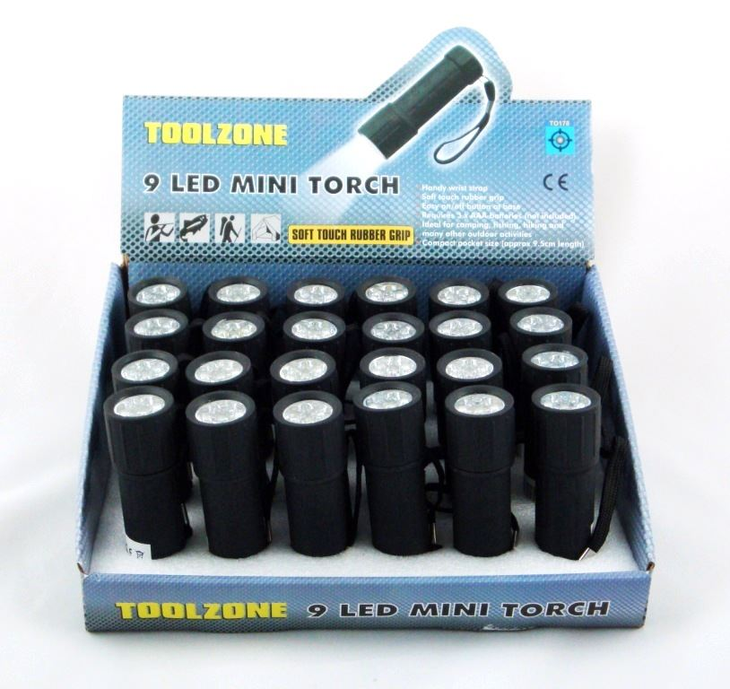 Toolzone 9 Led Rubber Coated Torch
